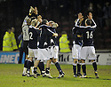 11/02/2008    Copyright Pic: James Stewart.File Name : sct_jspa16_motherwell_v_dundee.DUNDEE PLAYERS CELEBRATE AT THE END OF THE GAME.James Stewart Photo Agency 19 Carronlea Drive, Falkirk. FK2 8DN      Vat Reg No. 607 6932 25.Studio      : +44 (0)1324 611191 .Mobile      : +44 (0)7721 416997.E-mail  :  jim@jspa.co.uk.If you require further information then contact Jim Stewart on any of the numbers above........
