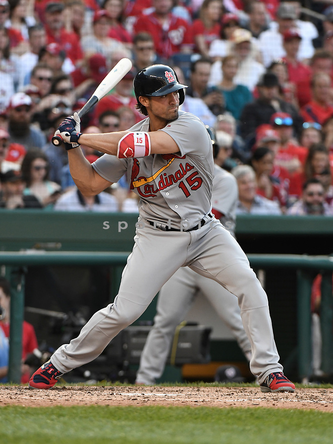 WASHINGTON DC - April 12, 2017: Randal Grichuk #15 of the St. Louis Cardinals during a game against the Washington Nationals on April 12 2017 at Nationals Park in Washington DC. The Cardinals beat the Nationals 6-1.-(Chris Bernacchi/SportPics)