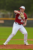 Indiana Hoosiers pitcher Drew Leininger #24 during a game against the Pittsburgh Panthers at the Big Ten/Big East Challenge at the Walter Fuller Complex on February 19, 2012 in St. Petersburg, Florida.  (Mike Janes/Four Seam Images)