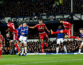 5th November 2017, Goodison Park, Liverpool, England; EPL Premier League Football, Everton versus Watford; Miguel Angel Britos and Richarlison of Watford defend against a header from Wayne Rooney of Everton