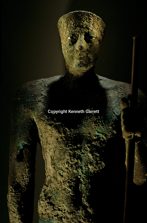 Egypt's Old Kingdom, Pepi I copper statue, life size, limestone and obsidian eyes