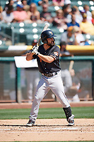 Jack Mayfield (6) of the Fresno Grizzlies bats against the Salt Lake Bees at Smith's Ballpark on September 3, 2018 in Salt Lake City, Utah. The Grizzlies defeated the Bees 7-6. (Stephen Smith/Four Seam Images)