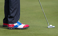 footballer turned actor Vinnie Jones personalised Footjoy Golf Shoes displaying UK VIN during the GOLFSIXES ProAm  at Centurion Club, St Albans, England on 5 May 2017. Photo by Andy Rowland.