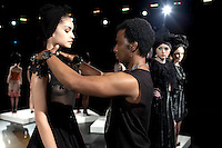 NEW YORK, SEPTEMBER 9 2012: South African designer David Tlale with his collection and models before his show at Mercedes Benz New York fashion week at the Box, at Lincoln Center, New York. (Photo by: Per-Anders Pettersson)