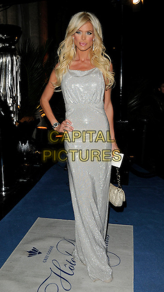 VICTORIA SILVSTEDT.The Grey Goose Character & Cocktails Ball, Gorsvenor House Hotel, London, England..December 13th, 2009.full length silver sparkly dress sleeveless maxi hand on hip bag purse  .CAP/CAN.©Can Nguyen/Capital Pictures.