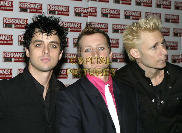 GREEN DAY.BILLY JOE ARMSTRONG, TRE COOL & MIKE DIRT.Kerrang Awards 2004, The Brewery, East London, .August 26th 2004..half length .Ref: AH.www.capitalpictures.com.sales@capitalpictures.com.©Capital Pictures.