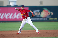 Palm Beach Cardinals third baseman Nolan Gorman (18) throws to first base during a Florida State League game against the Clearwater Threshers on August 10, 2019 at Roger Dean Chevrolet Stadium in Jupiter, Florida.  Clearwater defeated Palm Beach 11-4.  (Mike Janes/Four Seam Images)