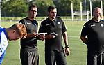 2018-06-26 / Voetbal / Seizoen 2018-2019 / Eerste training KFC Turnhout / Trainer Hayk Milkon spreekt zijn spelers toe<br /> <br /> ,Foto: Mpics