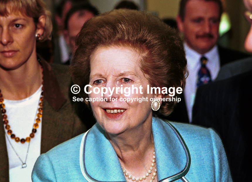 Baroness Thatcher, aka Margaret Thatcher,  former Conservative Prime Minister, Britain. Taken at Conservative Party Conference, Blackpool. .Ref: 199910197..Copyright Image from Victor Patterson, 54 Dorchester Park, Belfast, UK, BT9 6RJ..Tel: +44 28 9066 1296.Mob: +44 7802 353836.Voicemail +44 20 8816 7153.Skype: victorpattersonbelfast.Email: victorpatterson@mac.com.Email: victorpatterson@ireland.com (back-up)..IMPORTANT: If you wish to use this image or any other of my images please go to www.victorpatterson.com and click on the Terms & Conditions. Then contact me by email or phone with the reference number(s) of the image(s) concerned.