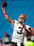 11 October 2009: Cleveland Browns' starting quarterback Derek Anderson warms up prior to a game against the Buffalo Bills at Ralph Wilson Stadium in Orchard Park, New York. The Browns defeated the Bills 6-3 for Cleveland's first win of the season...Mandatory Photo Credit: Ed Wolfstein Photo