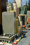 Lego Miniature Model of new York City skyscraper buildings at Miniland, LegoLand, tourist amusement attraction in Carlsbad, San Diego County, California