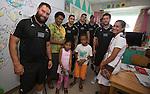Je Royal (L), Codey Rei, Ben May, Hayden Triggs, Heiden Bedwell-Curtis (obscured), Tawera Kerr-Barlow. Suva Children's Hospital. Suva, Fiji. July 10 2015. Photo: Marc Weakley
