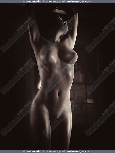 Beautiful nude woman standing naked by a wooden pillar in dim dramatic light with glittering skin Artistic Black and white sepia toned