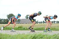 INLINESKATEN: HALLUM: 19-08-2017, Bartlehiem Skeelertocht, Jouke Hoogeveen, Jorrit Bergsma voorop, ©foto Martin de Jong