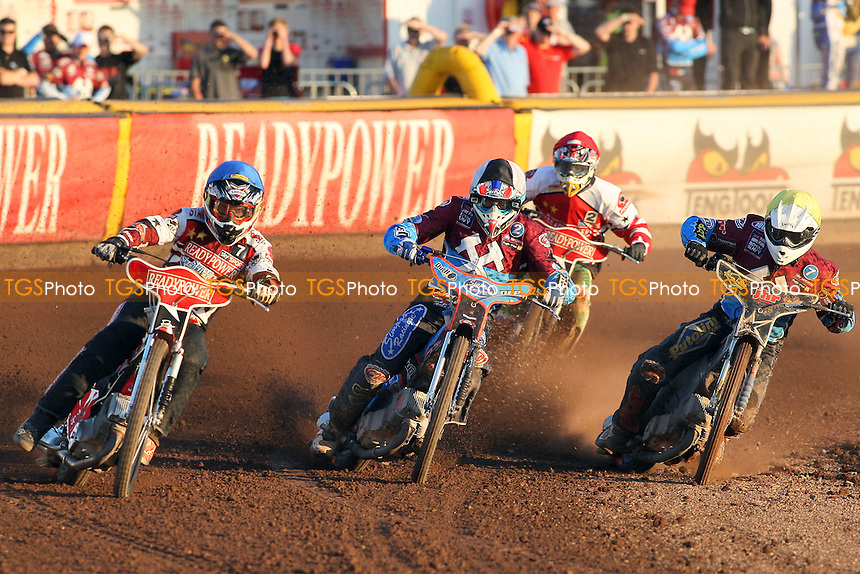 Heat 8: Buczkowski (blue) ,Nieminen (tactical), Robson (yellow) and Brzozowski - Lakeside Hammers vs Peterborough Panthers - Sky Sports Elite League Speedway at the East of England Showground - 03/06/10 - MANDATORY CREDIT: Gavin Ellis/TGSPHOTO - Self billing applies where appropriate - Tel: 0845 094 6026