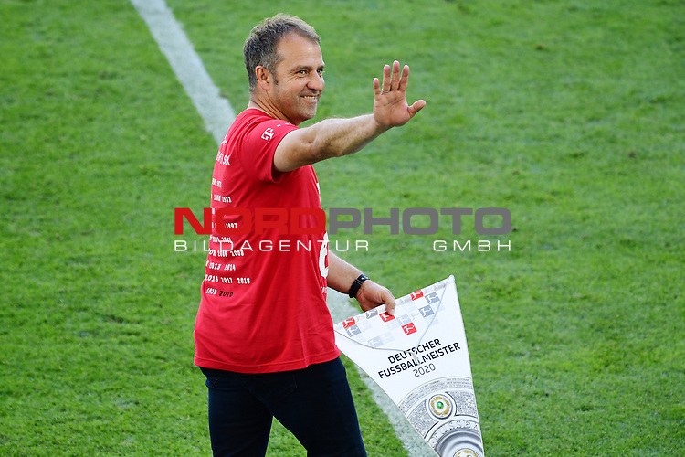 "Deutscher Meister 2020, FC Bayern Muenchen, Trainer Hans-Dieter ""Hansi"" Flick<br /> Wolfsburg, 27.06.2020: nph00001: , Fussball Bundesliga, VfL Wolfsburg - FC Bayern Muenchen 0:4<br /> Foto: Tim Groothuis/Witters/Pool//via nordphoto<br />  DFL REGULATIONS PROHIBIT ANY USE OF PHOTOGRAPHS AS IMAGE SEQUENCES AND OR QUASI VIDEO<br /> EDITORIAL USE ONLY<br /> NATIONAL AND INTERNATIONAL NEWS AGENCIES OUT"