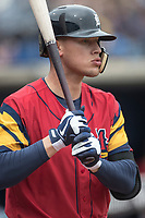Toledo Mud Hens outfielder Jacoby Jones (4) on deck against the Lehigh Valley IronPigs during the International League baseball game on April 30, 2017 at Fifth Third Field in Toledo, Ohio. Toledo defeated Lehigh Valley 6-4. (Andrew Woolley/Four Seam Images)