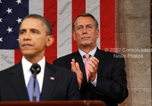 Speaker of the United States House of Representatives John Boehner (Republican of Ohio) applauds as U.S. President Barack Obama addresses a joint session of the United States Congress on the subject of job creation on Capitol Hill in Washington, September 8, 2011.    .Credit: Kevin Lamarque / Pool via CNP .