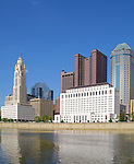 View of Columbus, Ohio skyline and Scioto River.