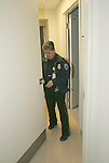 WATERBURY, CT-27January 2005-012705TK08   Marie DeAngelis of St. Mary's security patrols the corridors St. Mary's Hospital. Tom Kabelka staff photo (Marie DeAngelis, St. Mary's, security office)
