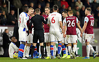 Referee Peter Bankes has a word with Burnley's Ben Mee and Chris Wood following a second half altercation <br /> <br /> Photographer Rich Linley/CameraSport<br /> <br /> The Premier League - Burnley v Crystal Palace - Saturday 30th November 2019 - Turf Moor - Burnley<br /> <br /> World Copyright © 2019 CameraSport. All rights reserved. 43 Linden Ave. Countesthorpe. Leicester. England. LE8 5PG - Tel: +44 (0) 116 277 4147 - admin@camerasport.com - www.camerasport.com