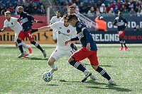 FOXBOROUGH, MA - MARCH 7: Gustavo Bou #7 of New England Revolution dribbles with Brandt Bronico #13 of Chicago Fire challenging during a game between Chicago Fire and New England Revolution at Gillette Stadium on March 7, 2020 in Foxborough, Massachusetts.