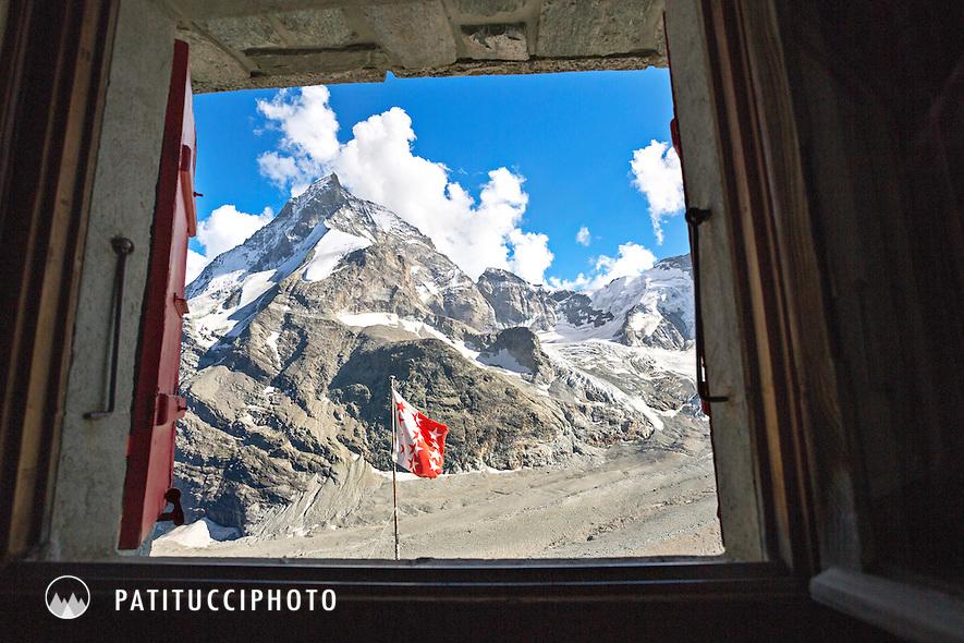The view of the Matterhorn through the window of the Schonbiel Hut, Wallis, Switzerland