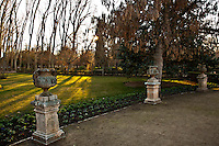 Prince's garden in Aranjuez, the beautiful garden of the royal court with old trees, gorgeous houses, mansions, wild animals and near the Tajo river