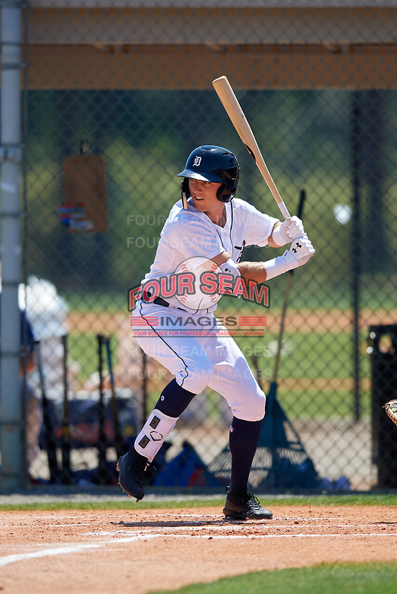 Detroit Tigers Kody Clemens (19) during a Minor League Spring Training game against the Toronto Blue Jays on March 22, 2019 at the TigerTown Complex in Lakeland, Florida.  (Mike Janes/Four Seam Images)