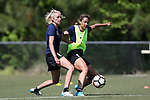 CARY, NC - APRIL 20: Lynn Williams (right) and Courtney Niemiec (left). The North Carolina Courage held a training session on April 20, 2017, at WakeMed Soccer Park Field 7 in Cary, NC.