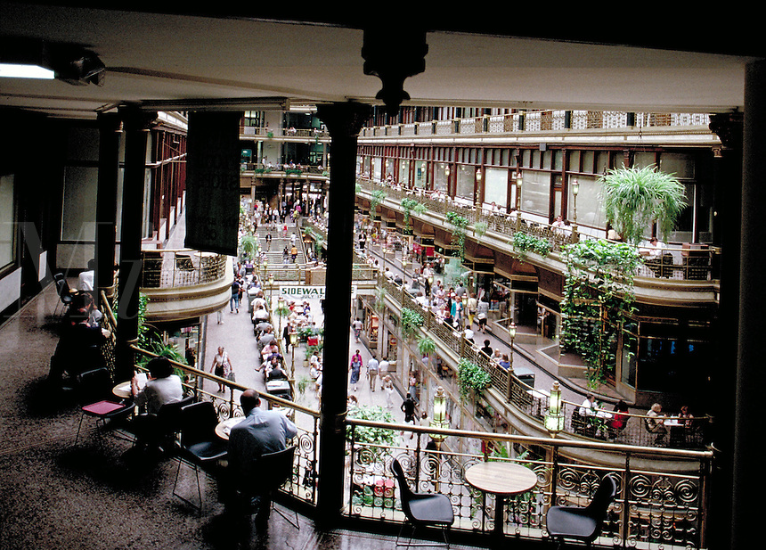The Old Arcade, was the first 'shopping mall' in the united States with 112 shops and stores. It was opened in 1890 in Cleveland, Ohio. commerce, ornamental architecture, trade, urban structures. Ohio.