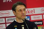 14.04.2019, Merkur Spielarena, Duesseldorf , GER, 1. FBL,  Fortuna Duesseldorf vs. FC Bayern Muenchen,<br />  <br /> DFL regulations prohibit any use of photographs as image sequences and/or quasi-video<br /> <br /> im Bild / picture shows: <br /> Pressekonferenz (PK) nach dem Spiel,  Niko Kovač Trainer / Headcoach (Bayern Muenchen), <br /> <br /> Foto © nordphoto / Meuter