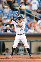 Lake County Captains outfielder Clint Frazier (20) at bat during a game against the Fort Wayne TinCaps on August 21, 2014 at Classic Park in Eastlake, Ohio.  Lake County defeated Fort Wayne 7-8.  (Mike Janes/Four Seam Images)