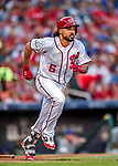 7 October 2017: Washington Nationals third baseman Anthony Rendon runs to first to round the bases after opening the scoring with a solo home run in the first inning of the second NLDS game against the Chicago Cubs at Nationals Park in Washington, DC. The Nationals defeated the Cubs 6-3 and even their best of five Postseason series at one game apiece. Mandatory Credit: Ed Wolfstein Photo *** RAW (NEF) Image File Available ***