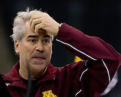 John Hill (Minnesota Assistant Coach) takes part in the Gophers' morning skate at the Xcel Energy Center in St. Paul, Minnesota, on Friday, October 12, 2007, during the Ice Breaker Invitational.