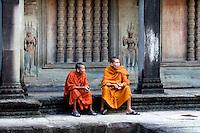 Monks inside Angkor Wat, Cambodia