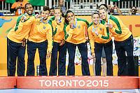 TORONTO, CANADA, 24.07.2015 - PAN-HANDBALL - Jogadoras do Brasil durante partida contra Argentina na final do Handball Feminino no Centro de Exposições de Toronto nesta sexta-feira, 24.  (Foto: William Volcov/Brazil Photo Press)