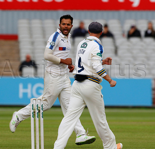 May 21st 2017, Emirates Old Trafford, Manchester, England; Specsavers County Championship Division One; Day Three; Lancashire versus Yorkshire; Azeem Rafiq celebrates after taking the wicket of Dane Vilas leaving Lancashire on 135-5
