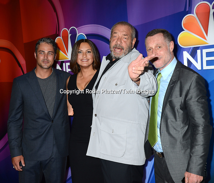 Taylor Kinney, Mariska Hargitay, Dick Wolf and Jason Beghe attend the NBC Upfront 2015-2016 Presentation on May 11, 2015 at Radio City Music Hall in New York, New York, USA.<br /> <br /> photo by Robin Platzer/Twin Images<br />  <br /> phone number 212-935-0770