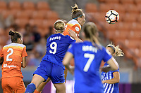 Houston, TX - Wednesday June 28, 2017: Amber Brooks heads the ball towards the Boston goal during a regular season National Women's Soccer League (NWSL) match between the Houston Dash and the Boston Breakers at BBVA Compass Stadium.