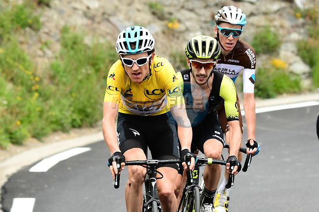 Race leader Geraint Thomas (WAL) Team Sky Yellow Jersey, Adam Yates (GBR) Mitchelton-Scott and Romain Bardet (FRA) AG2R La Mondiale attack on the final climb of Stage 6 of the 2018 Criterium du Dauphine 2018 running 110km from Frontenex to La Rosiere, France. 9th June 2018.<br /> Picture: ASO/Alex Broadway | Cyclefile<br /> <br /> <br /> All photos usage must carry mandatory copyright credit (© Cyclefile | ASO/Alex Broadway)
