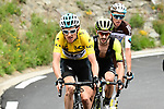Race leader Geraint Thomas (WAL) Team Sky Yellow Jersey, Adam Yates (GBR) Mitchelton-Scott and Romain Bardet (FRA) AG2R La Mondiale attack on the final climb of Stage 6 of the 2018 Criterium du Dauphine 2018 running 110km from Frontenex to La Rosiere, France. 9th June 2018.<br /> Picture: ASO/Alex Broadway | Cyclefile<br /> <br /> <br /> All photos usage must carry mandatory copyright credit (&copy; Cyclefile | ASO/Alex Broadway)