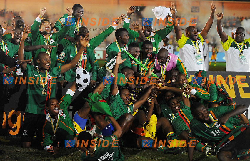 Esultanza Zambia.Libreville 12/2/2012 .Football Calcio 2012.Coppa d'Africa.Zambia Costa d'Avorio.Foto Insidefoto / Christian Liewig / FEP / Panoramic.ITALY ONLY