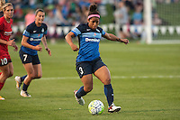 Kansas City, Mo. - Saturday April 23, 2016: FC Kansas City defender Desiree Scott (3) dribbles the ball during a match against Portland Thorns FC at Swope Soccer Village. The match ended in a 1-1 draw.