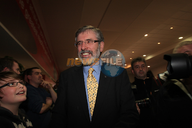 Gerry Adams meets supporters.at the Louth election count in the DKIT in Dundalk Co Louth..Picture: Fran Caffrey / www.newsfile.ie.