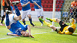 St Johnstone v Dundee United...19.04.14    SPFL<br /> Steven Anderson does a somersault after scoring<br /> Picture by Graeme Hart.<br /> Copyright Perthshire Picture Agency<br /> Tel: 01738 623350  Mobile: 07990 594431