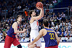 Real Madrid's Sergio Llull and FC Barcelona Lassa's Ante Tomic and Stratos Perperoglou during Liga Endesa match between Real Madrid and FC Barcelona Lassa at Wizink Center in Madrid, Spain. March 12, 2017. (ALTERPHOTOS/BorjaB.Hojas)