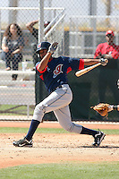Ronny Rodriguez #2 of the Cleveland Indians plays in a minor league spring training game against the Cincinnati Reds at the Reds minor league complex on March 27, 2011  in Goodyear, Arizona. .Photo by:  Bill Mitchell/Four Seam Images.