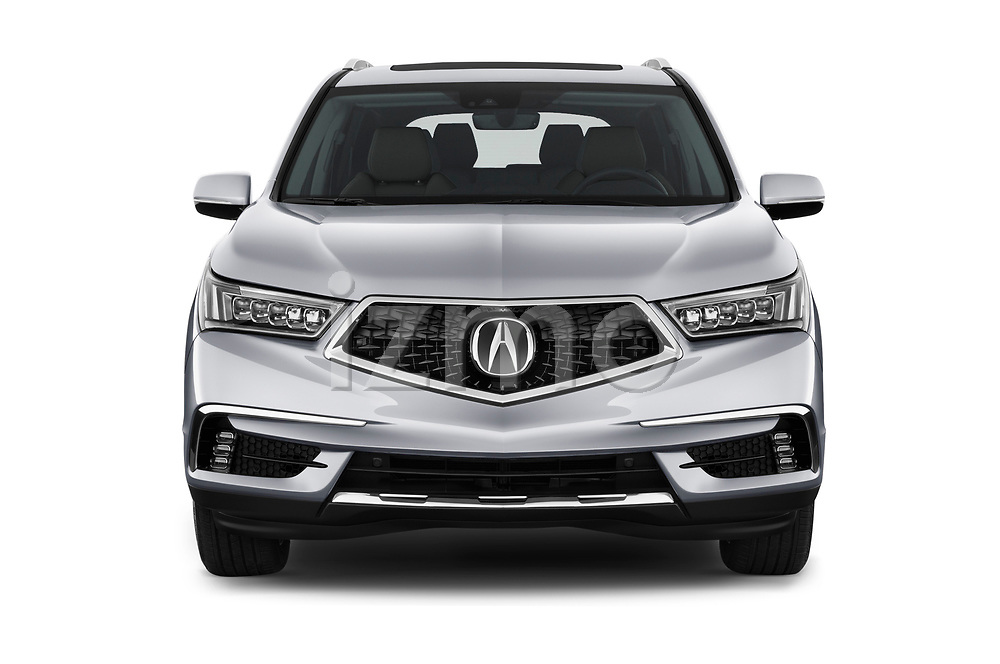 Car photography straight front view of a 2018 Acura MDX Sport Hybrid Advance Package 5 Door SUV