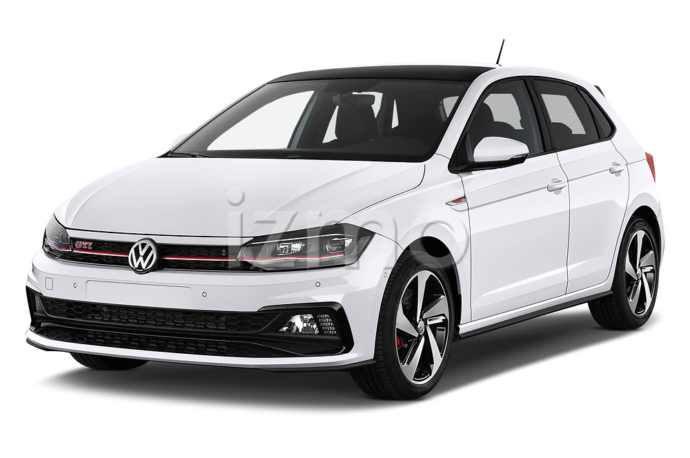2018 Volkswagen Polo GTI 5 Door Hatchback angular front stock photos of front three quarter view